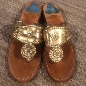 Jack Rogers gold metallic sandals